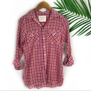 Sonoma Women's Flannel Top Plaid XS pink orange